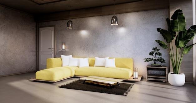 Интерьер, гостиная в современном минималистском стиле с желтым диваном на концертной стене и полом из гранитной плитки. 3d визуализация