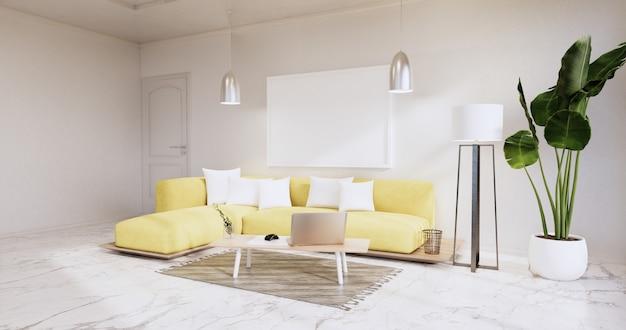 Интерьер, гостиная в современном минималистском стиле с желтым диваном на белой стене и гранитной плиткой на полу. 3d визуализация