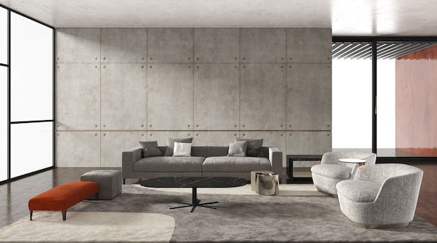 Interior living room modern style, gray sofa with bare cement wall