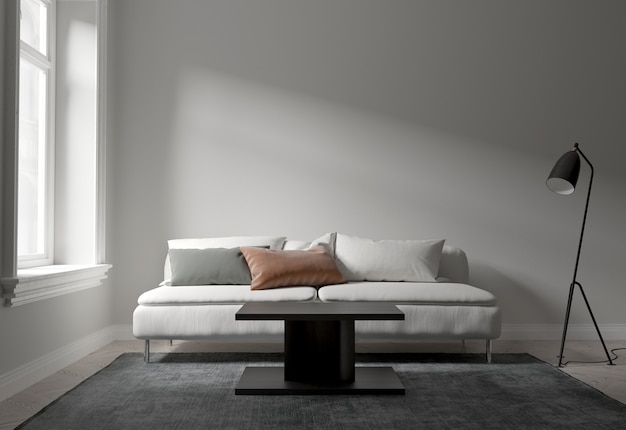 Interior living room modern style, white sofa and daylight form window. Premium Photo