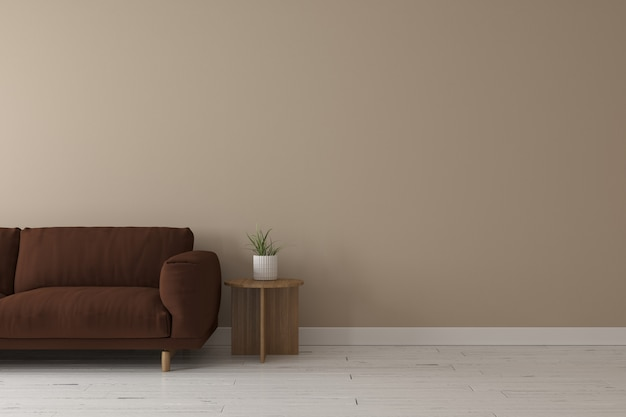 Interior of living room modern style with dark brown fabric sofa,wooden side table and beige wall color
