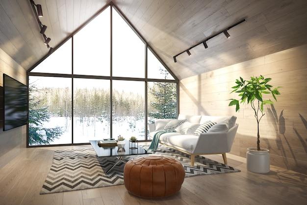 Интерьер гостиной лесного дома 3d иллюстрации