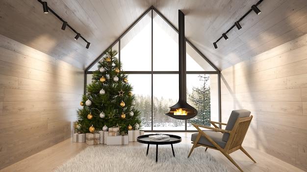 크리스마스 트리 3d 렌더링이 있는 숲속 집의 인테리어 거실