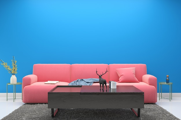 Interior living room pink sofa modern wall floor wood table lamp background