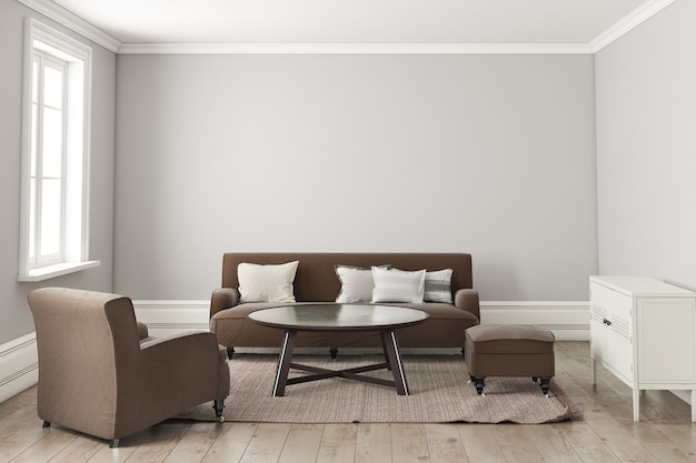 Interior living room scandinavian style with brown sofa.