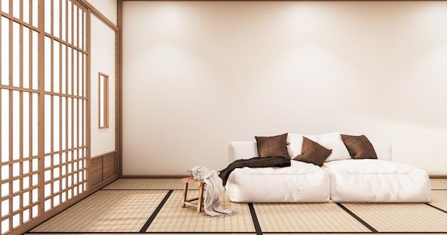 壁のデザインとインテリアリビングルームトロピカルスタイル。3dレンダリング