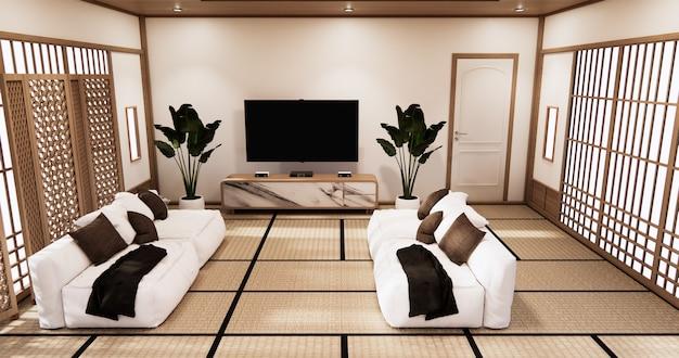 Интерьер гостиной в тропическом стиле с дизайном стен. 3d визуализация