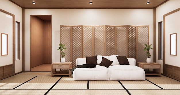 Interior living room tropical style with wall design.3d rendering