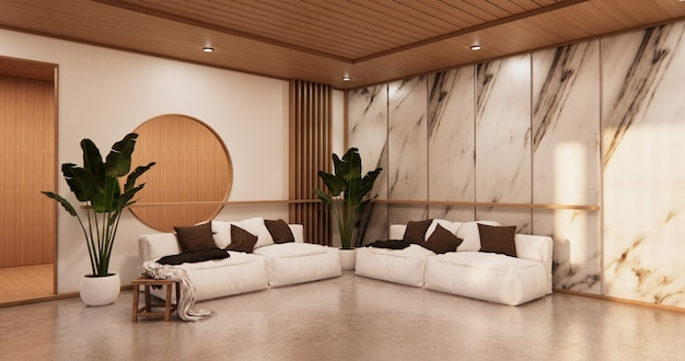 Interior living room tropical style with wall granite design.3d rendering