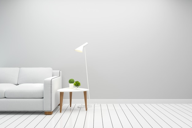인테리어 거실 화이트 소파 현대 벽 바닥 나무 테이블 램프 배경