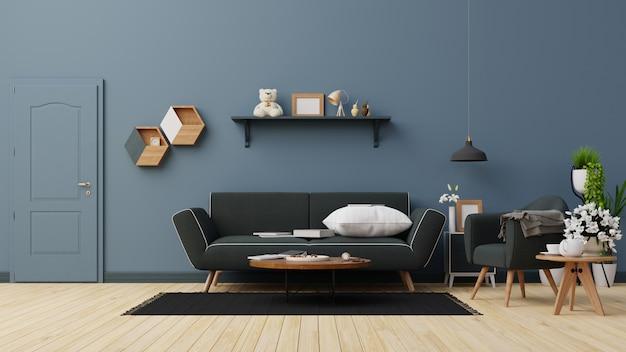 Interior  living room with dark blue sofa .  rendering.