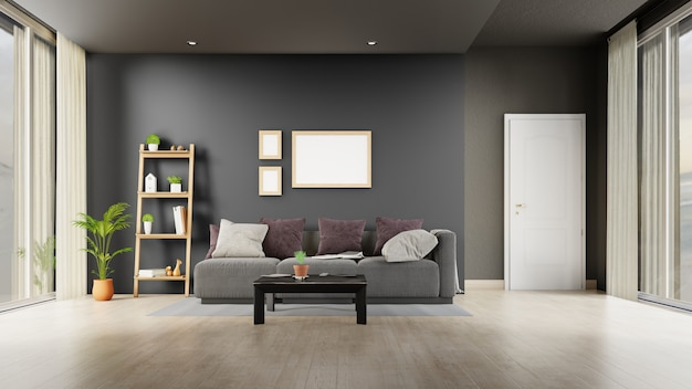 Interior living room with gray sofa . 3d rendering.