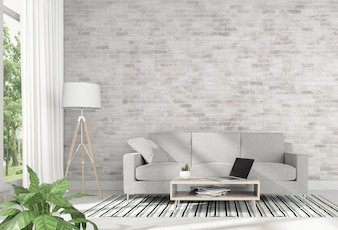 Interior living room with laptop sofa. 3D rendering