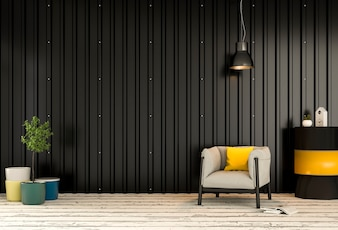 Interior living room with metal sheet wall. 3d render