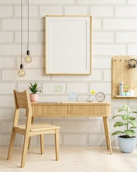Interior of living room with mockup frame on work table,white brick wall.3d rendering