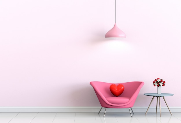 Interior living room with pink sofa and heart valentine
