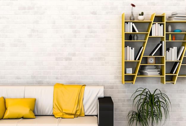 Внутренняя гостиная с диваном и книжной полкой. 3d рендер