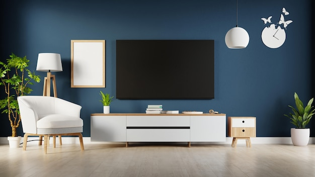 Interior living room with tv cabinet . 3d rendering.