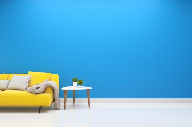 인테리어 거실 노란색 소파 현대 벽 바닥 나무 테이블 램프 배경