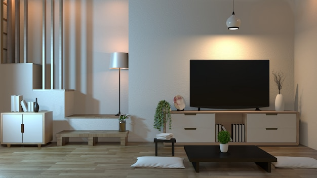 Interior living room zen style with smart tv and decoration style japanese