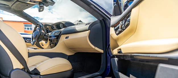 Interior of a luxury car, noble materials and quality workmanship