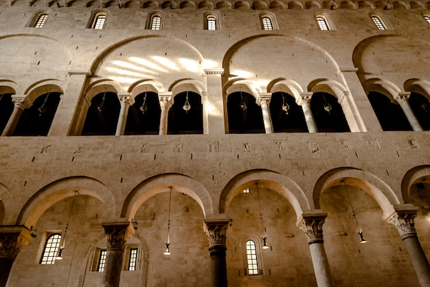 Interior of the main nave of the cathedral basilica of san sabino in bari.