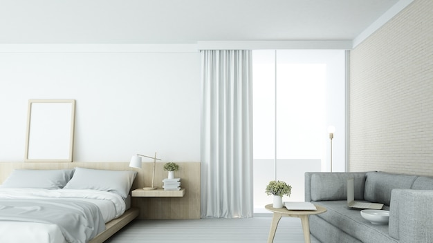 The interior minimal bedroom space in condominium and decoration white background