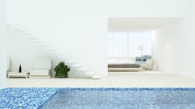 The interior minimal hotel bedroom space swimming pool 3d rendering and nature view