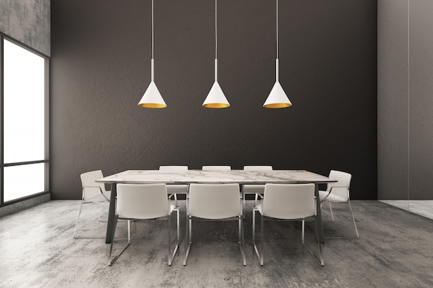 Interior of a minimalist dining room with black wall