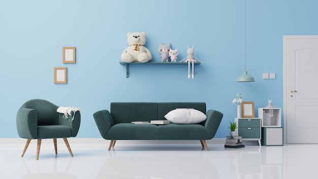 Interior mock up living room 3d rendering
