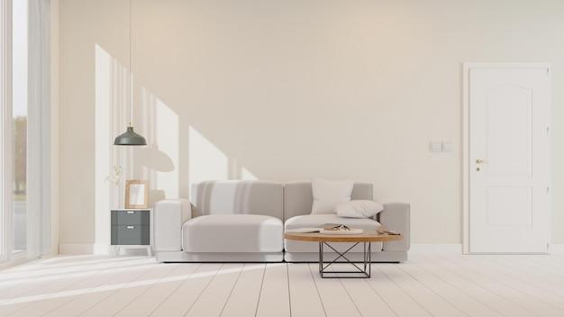 Интерьер макета гостиной с белым диваном 3d-рендеринга