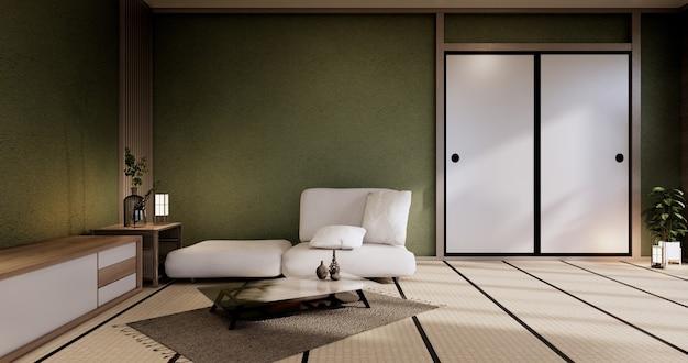 Interior mock up, minimal green living room japanese style.3d rendering