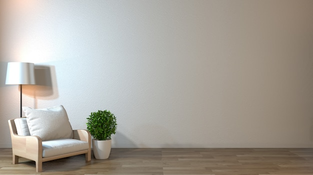 Interior mock up with armchair in japanese living room with empty wall