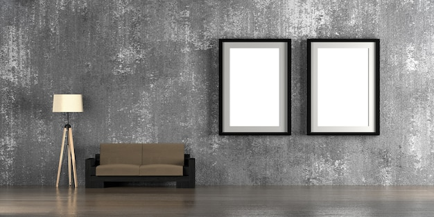 Interior mock-up with blank picture frames 3d rendering.