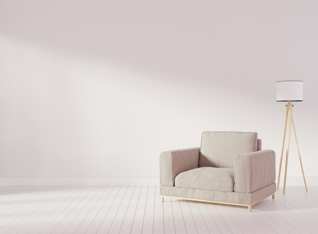 Interior mock up with gray velvet armchair in living room with white wall. 3d rendering.