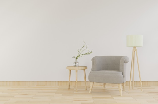 Interior mock up with gray velvet armchair