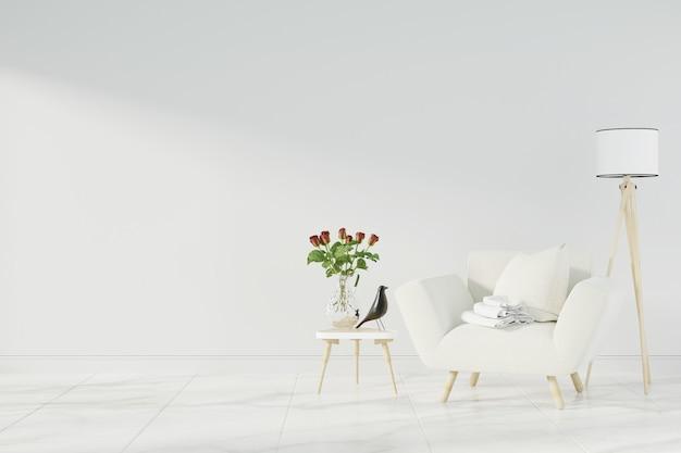 Interior mock up with gray velvet armchair