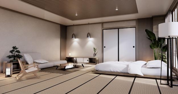 Макет интерьера с дзен-кроватью и декором в японской спальне. 3d-рендеринг.