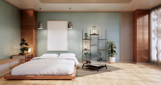 Макет интерьера с дзен-кроватью и декором в японской голубой спальне. 3d-рендеринг.