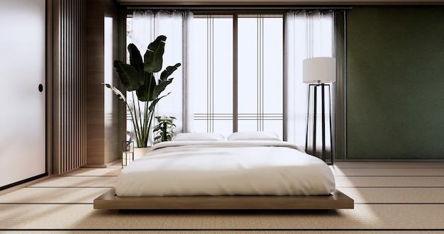 Макет интерьера с растениями и декором в японской зеленой спальне. 3d-рендеринг.