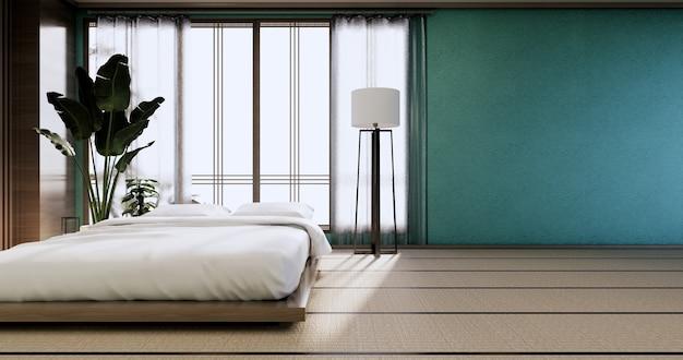 Макет интерьера с дзен-кроватью и декором в спальне с японской мятой. 3d-рендеринг.