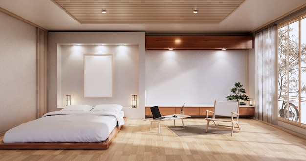 Interior mock up with zen bed plant and decoartion in japanese bedroom. 3d rendering.