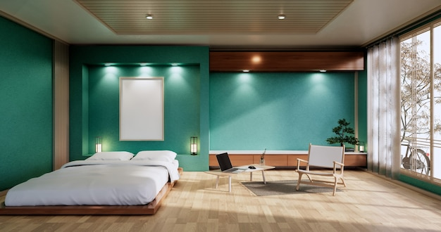 Interior mock up with zen bed plant and decoartion in japanese mint bedroom. 3d rendering.