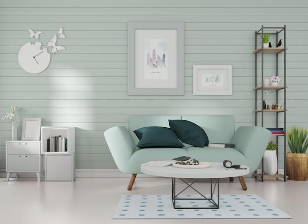 Макет интерьера рамка для картины прикреплена к синему дивану в комнате с синими планками на стене.