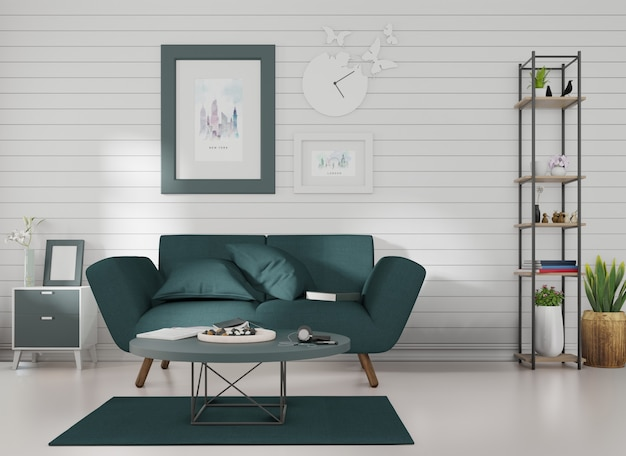 Макет интерьера в рамке для картины прикреплен к темно-синему дивану в комнате с синими планками на стене.