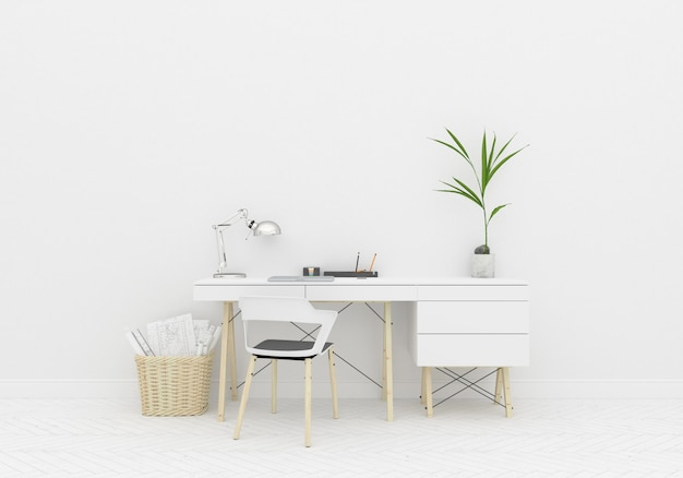 Interior mockup home office room and blank wall