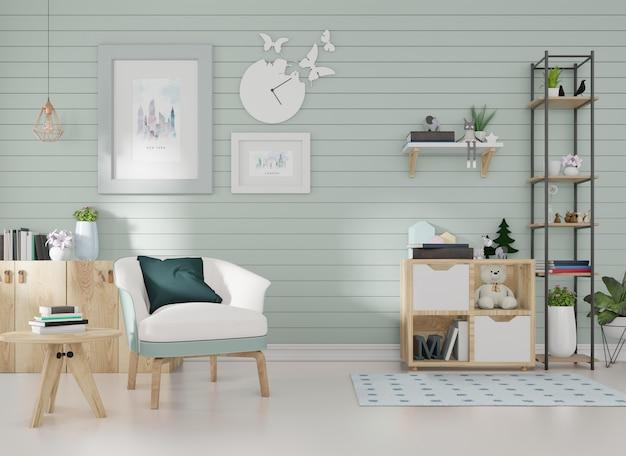 Макет интерьера в комнате с синими рейками на стене и рамкой для картины стоит синее кресло.