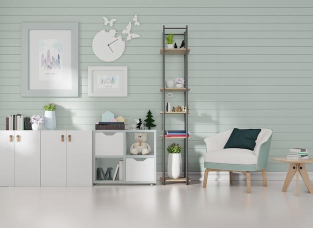 Макет интерьера в комнате с синими рейками на стене и рамкой для картины - синее кресло.