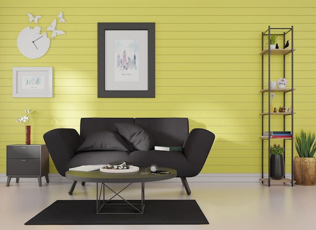 Interior mockup a picture frame is affixed to a black sofa in a room with blue slats on the wall