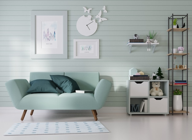 Interior mockup a picture frame is affixed to a blue sofa in a room with blue slats on the wall